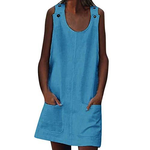 (Crew Neck Women's Dresses Shift Daily Casual Button Plain Cotton Dresses Blue )