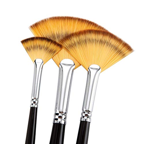 6Pcs Sable Weasel Fan Multi-Color Hair Birch Wooden Handle Brush Set for and 6