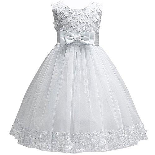 IBTOM CASTLE Big Little Girl Ball Gown Lace Flower Girl Dresses for Wedding Ivory 3t -