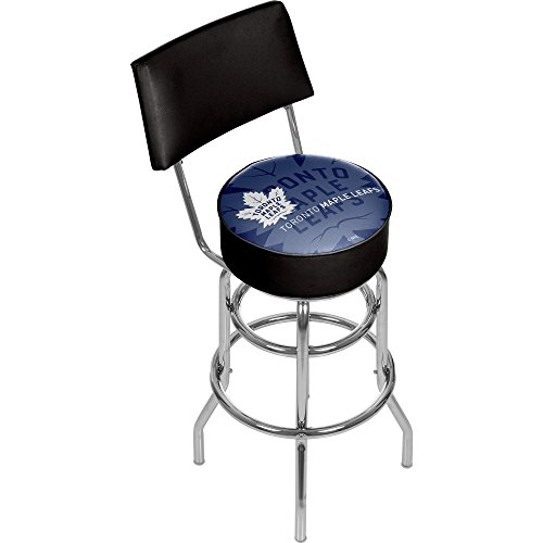 (Trademark Gameroom NHL1100-TML-WM NHL Swivel bar Stool with Back - Watermark - Toronto Maple Leafsa)