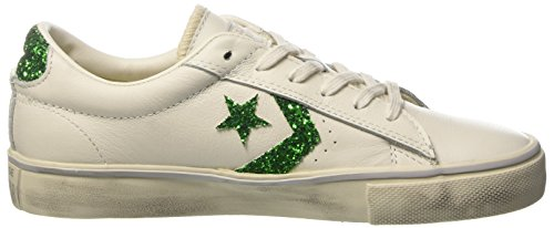 White Pro Collo Ox Donna Distressed Sneaker Vulc Converse A Leather Basso star emerald Bianco turtledove 7dSUw0