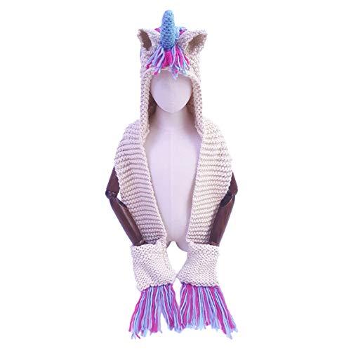 Kids Unicorn Hat, Winter Crochet Cartoon Unicorn Scarf Hat Pocket Knitted Earflap Hood Scarves Animal Ear Cap Beanies