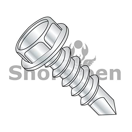 Pack of 25 SHORPIOEN Unslotted Hex Washer Self Drilling Zinc #14 x 4 BC-1464KW-25