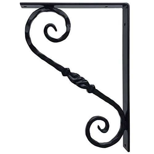 Cast Marble Mantel Fireplace (Wrought Iron Decorative Metal Bracket for Granite Countertop or Shelf Support - 12x17 inch Classic Black Finish - Hand Forged for Kitchen, Interior, Exterior Home Decor - Heavy Duty Quality Guarantee)