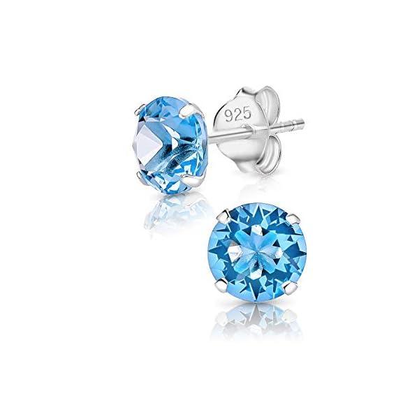 DTPsilver – Boucles d'oreilles/Clous en Argent Fin 925 et Cristaux de Swarovski® Elements Ronds – Diamètre: 6 mm – Choix…