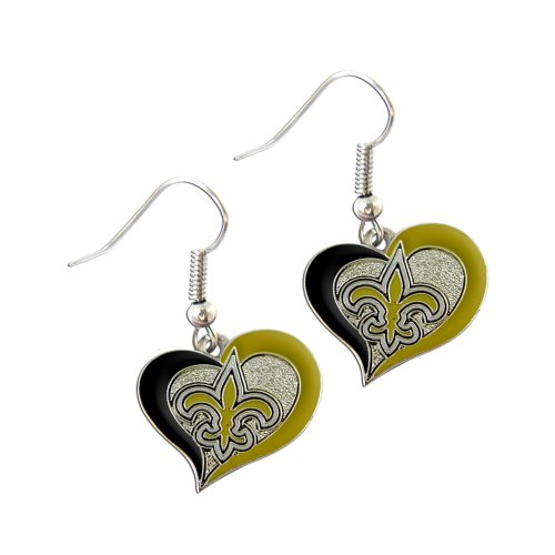 New Orleans Saints NFL Sports Team Logo Swirl Heart Shape French Hook Style Charm Dangle Earring (New Orleans Costume)