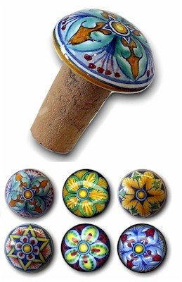 CORK STOPPERS: Set of SIX assorted Hand Painted Cork Stopper from Deruta [#TAP-SET] by DERUTA Collection
