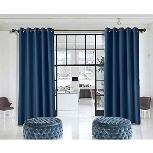 Macochico Navy Indoor Divider Curtains 10ft Wide x 8ft Height for Library Hotel Kids Room Office Bureau Privacy Room Thermal Insulated Light Proof Anti-Noise (1 Panel)