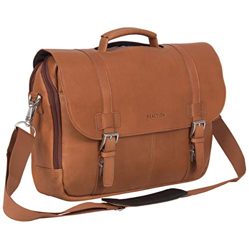 Kenneth Cole Reaction Show Business Full-Grain Colombian Leather Dual Compartment Flapover 15.6-inch Laptop Business Portfolio, Cognac