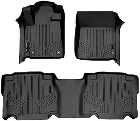 MAXLINER Custom Fit Floor Mats 2 Row Liner Set Black for 2012-2013 Toyota Tundra CrewMax Cab
