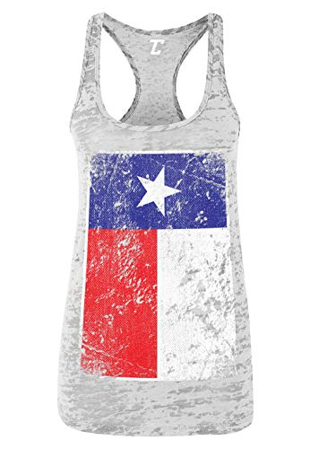 Lone Star Tank - Distressed Texas Flag - USA Lone Star State Women's Racerback Tank Top (White, Medium)