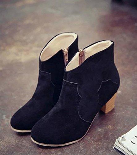Tacchi Bassi Mode Minetom Con Corto Martin Donna Scarpe Con Boots Stivaletti Nero Camoscio Tacco Stivali Tubo YzYqva1