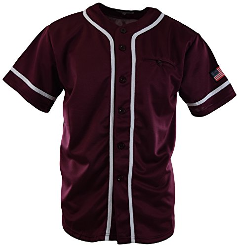 Mens Plain Solid Color Baseball Jersey (2XL, MF201-Burgundy) (Burg Jersey)