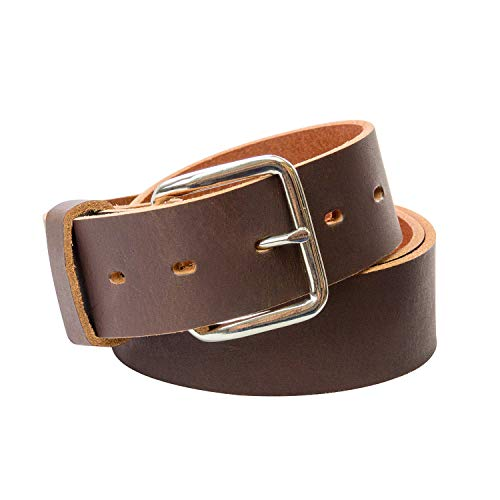 (Journeyman Leather Belt | Made in USA | Brown w/Silver Buckle | Size 50)