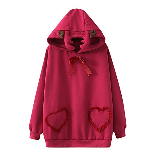 Christmas Sweatshirt Hooded Red Blouse Winter Tops Women Casual Fashion Party Shirts Cloth