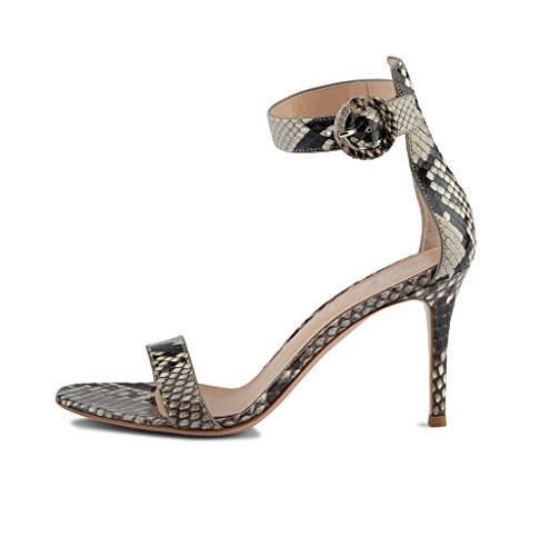 80mm Python Summer Heel Strap High Toe Dress Ankle EDEFS Shoes Open Sandals Womens YqRxn7wa