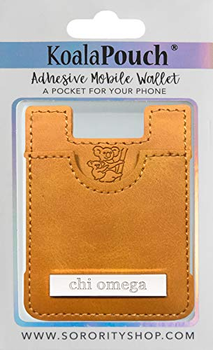 Chi Omega - Leather Style Koala Pouch - Adhesive Mobile Wallet ()