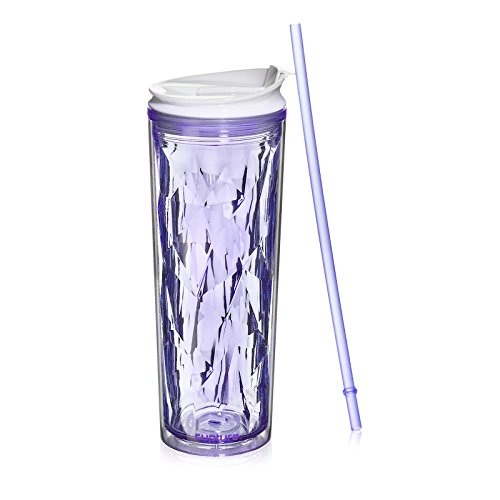 Cupture Crystal Click & Seal Shake Tumbler Cup for Hot or Cold Drinks - 22 oz (Purple (Amethyst Tumbler)