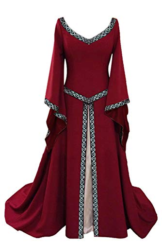 Women's Medieval Gothic Royal Queen Princess Trumpet Sleeves V Neck Red Maxi -