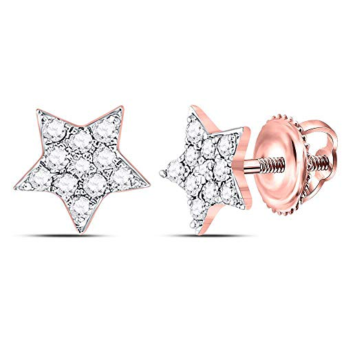 The Diamond Deal 10kt Rose Gold Womens Round Diamond Star Cluster Stud Earrings 1/5 Cttw (Diamond Star Round Earrings)