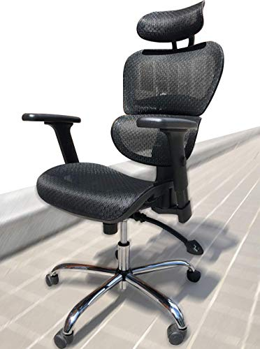 Smugdesk 1388FK Ergonomic High Back Mesh Adjustable Headrest and Lumbar Support 3D Armrest Office Chair, Standard Size, Black ()