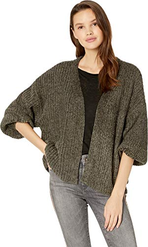 Romeo & Juliet Couture Women's Oversized Chenille Cardigan Olive Medium