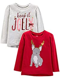 Toddler Girls' 2-Pack Christmas Long-Sleeve Tees