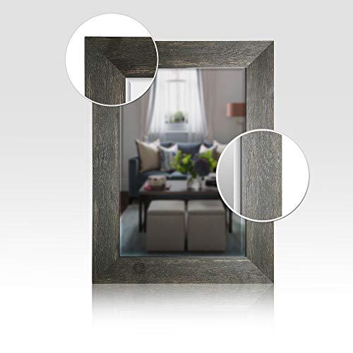 Mirrorize Canada 34×46 Black Hand Stained Wood Beveled Mirror Vanity,Powder room,Bathroom, Bedroom 34X46 Inner Mirror 24X36 Black Rectangle Large Mirror