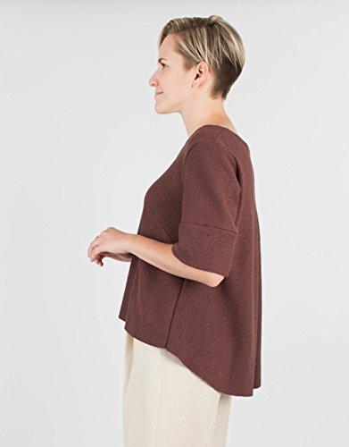Women's Short Sleeve Chocolate Brown Wool Sweater by BAUH designs