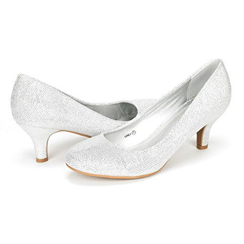 DREAM PAIRS Women's Luvly Silver Bridal Wedding Low Heel Pump Shoes - 10 M US