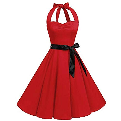 Toimothcn Women's Cocktail Dress Sleeveless Vintage 1950s Retro Rockabilly Prom Tea Dresses with ()