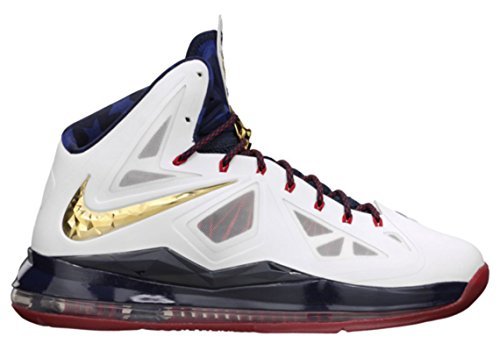 Nike Lebron X+ Sport Pack White/Metallic Gold/Obsidian/University Red, 11 M US (Nike Gold Medal compare prices)