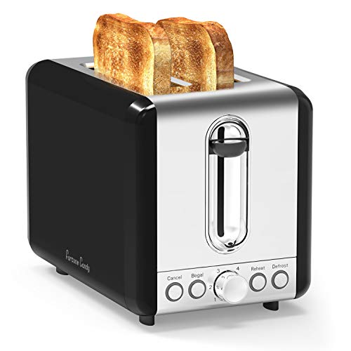 Toasters 2 Slice Best Rated Prime,Black Stainless Steel,Bagel Toaster - 6 Bread Shade Settings,Bagel/Defrost/Reheat/Cancel Function,1.5in Wide Slots, Removable Crumb Tray,for Various Bread Types(Black)