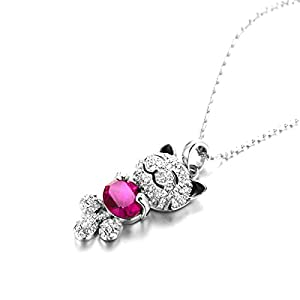 "Christmas Gifts ""Lucky Cat"" Ruby SWAROVSKI ELEMENTS Crystal Pendant Necklace- Environmental Friendly - Elegant and eye-catching, this on-trend silhouette demonstrates Swarovski's craftsmanship at its best - 100% Satisfaction or Money Back Guarantee!"