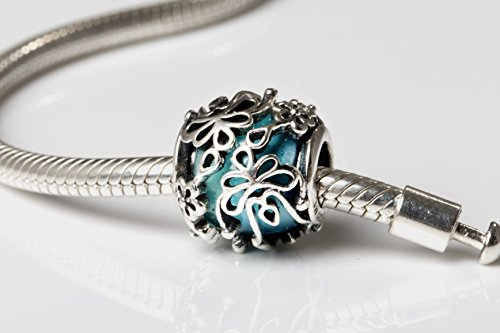 - Turquoise Teal Blue Murano Glass & Sterling Silver Flower Charm Bead S925, Blue Glass Silver Flower Charm Bead pendant, Princess Cinderella charm Jewelry, Floral Charm Jewellery Pandora compatible