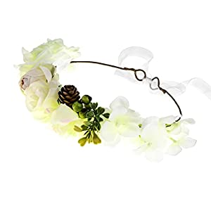 DDazzling Flower Girl Halo Flower Crown Wedding Bridal Party Accessories Photo Props 36