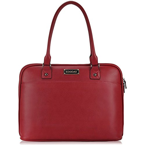 14-15.6 Inch Laptop Bag for Women,Full Zipper Open Laptop Tote Bag,Big Work Business Briefcase[Red]