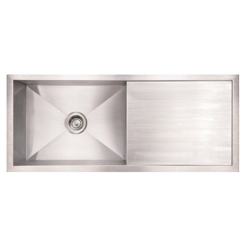 (Whitehaus WHNCM4019-BSS Noah'S Collection 40-Inch Commercial Single Bowl Reversible Under Mount Sink with Integral Drain Board, Brushed Stainless Steel)