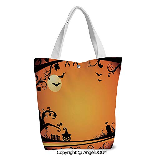 Women portable Canvas Shoulder Shopping bag Halloween Themed Image Eerie Atmosph -