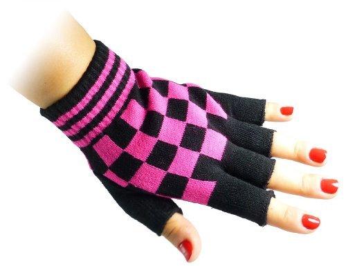 JTC Belt Unisex Half Finger Stretchy Fingerless Gloves One Size Fits Most Black & Pink Checkered