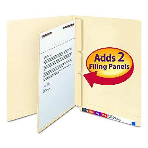 Smead 68027 Manila Self-Adhesive End/Top Tab Folder Dividers, 2-Sections, Letter (Box of 100) - Manila Divider