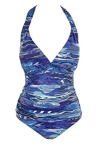 Lauren Ralph Lauren Women's Calypso Halter One-Piece Blue 12 (Ralph Lauren Romance Best Price)