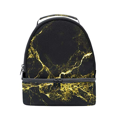 textura de y correa ajustable con para tinta dorado de de Bolso y mármol doble picnic color almuerzo negro qXwn1gI