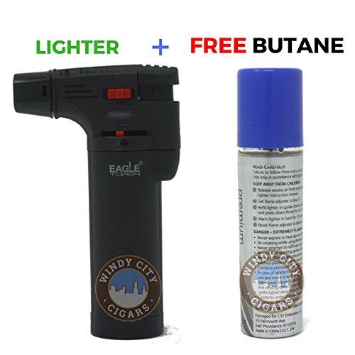 Angle Eagle Iseries Jet Flame Butane Torch Lighter Refillable Windproof & butane (Matte Black)