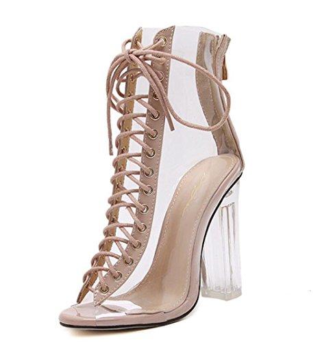 Punta Abierta Estrella Altos Zapatos Sandalias Plástico Tacones Beige De Linyi Aguja Mujer Modelos zZ4qf