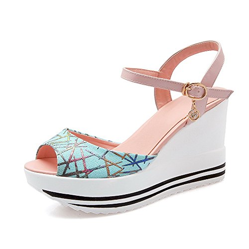 AllhqFashion Women's Open Toe High Heels Soft Material Assorted Color Buckle Sandals Pink