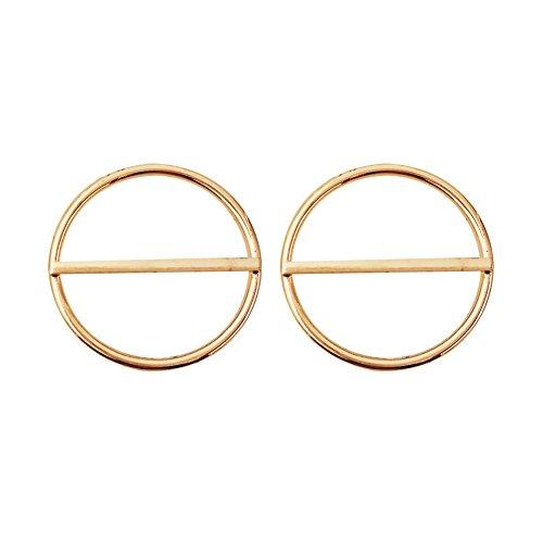 YUELILI Round Geometric Fashion Woman 18k Rose Gold Earrings