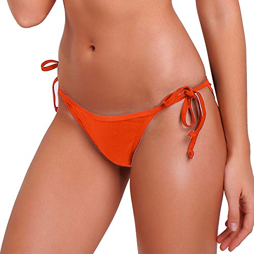 - KIWI RATA 2017 New Womens Swimwear Sexy Tie Side Sweet Heart Brazilian Bikini Bottom Hipster Swimsuit Beachwear Swimwear (XL, Orange)