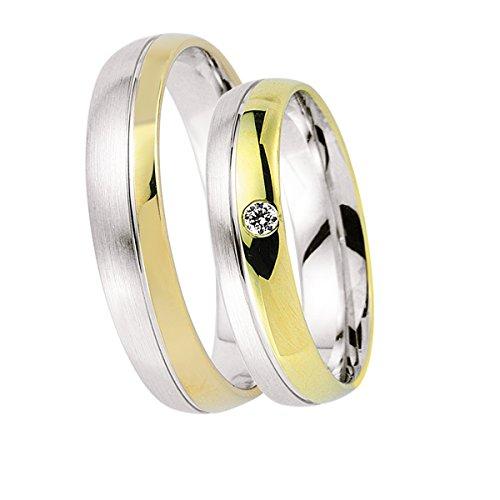 Oro alianzas Partner de alianzas de anillos, anillos de compromiso, Amistad Anillos con grabado y piedra: Amazon.es: Joyería