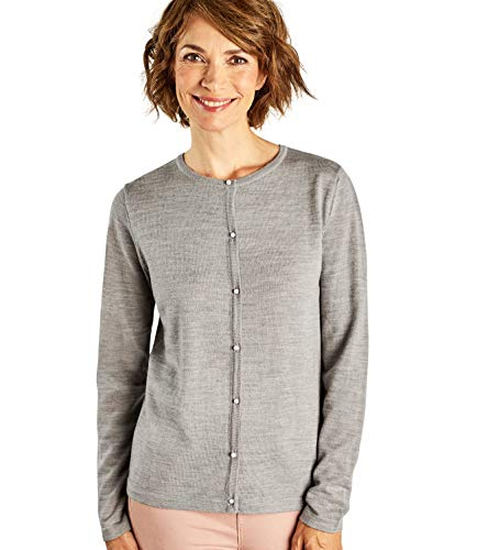 WoolOvers Womens Pearl Button Cardigan Grey Marl, S - Button Grey Pearl